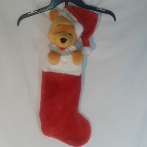 """Winnie The Pooh 3D Christmas Stocking 24"""" sparkly"""